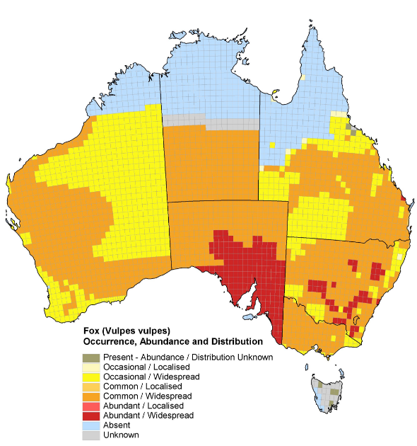 map of red fox in australia